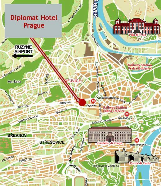 Location diplomat hotel prague for M hotel prague